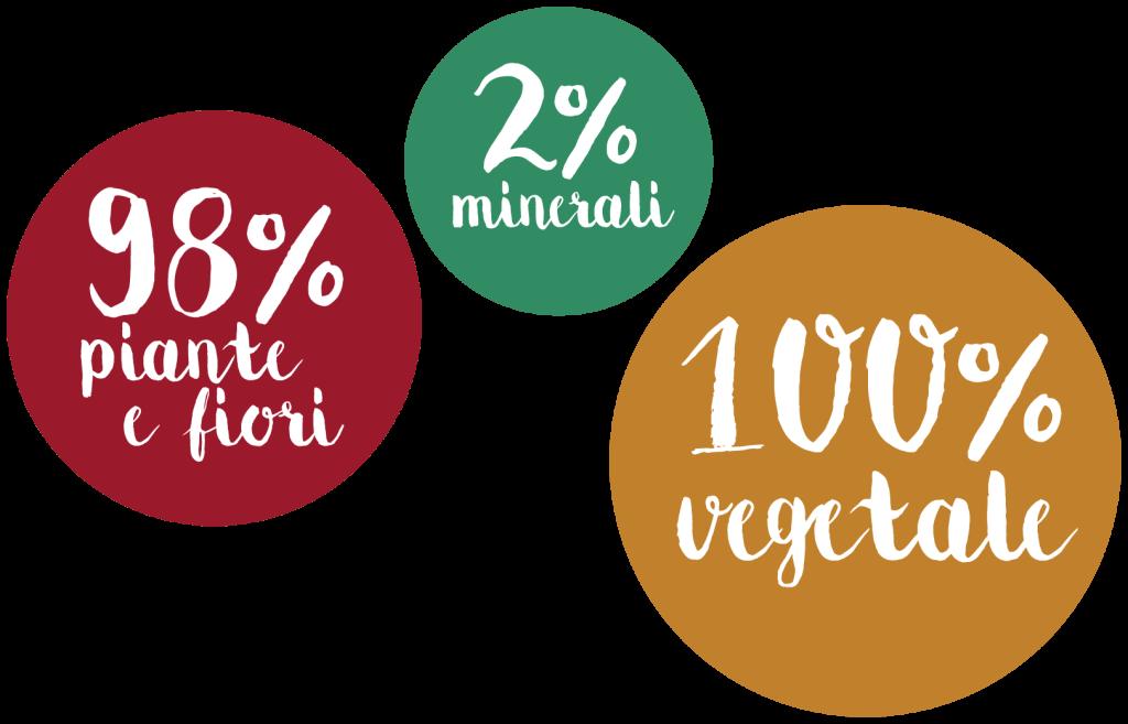 Infografica sulla composizione della tinta vegetale: 98% fiori e piante, 2% minerali, 100% vegetale.